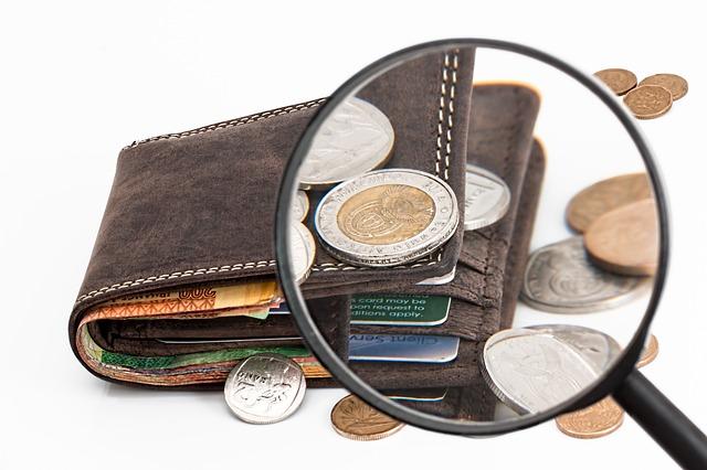 brauner Ledergeldbeutel mit Geldscheinen und Múnzxan drumherum die durch eine Lupe betrachtet werden