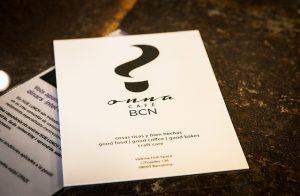Getränkekarte des Onna Cafes Barcelona