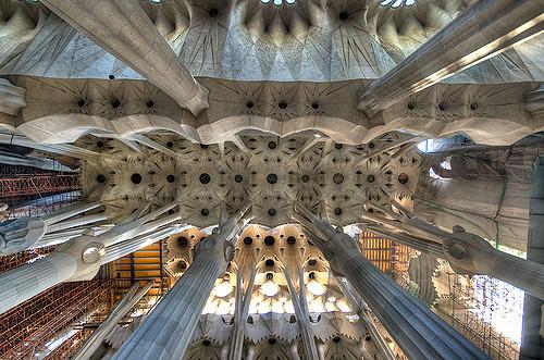 Sicht von unten auf die Decke der Kathedrale