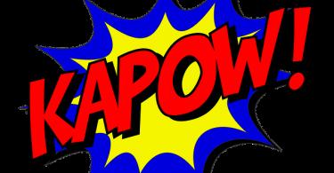 typisches Kapow aus einem Comic in gelb, blau und die Buchstaben und das Ausrufezeichen in rot