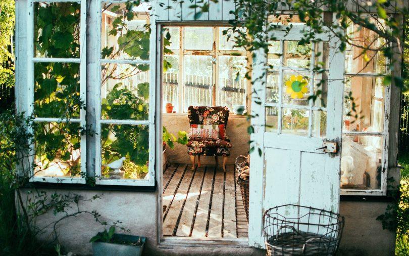 Einblick in deine Wintergarten einer Wohnung, eine weisse Holztür , ein Sessel, viele Hängepflanzen und Holzboden umgeben von Fenstern durch die viel Licht reinscheint