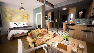 ein vollmöbliertes Studio, rechts eine amerikanische Küche, davor ein kleiner Holztisch mit einer Pflanze in der Mitte und einem Vintagsofa und links ein Doppelbett mit einem Weltkarte drüber gehängt