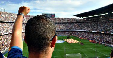 ein mann von hinten zu sehen der den linken arm hoch hält und seine Mannschaft von den zuschauertribühnen im Stadion anfeuert