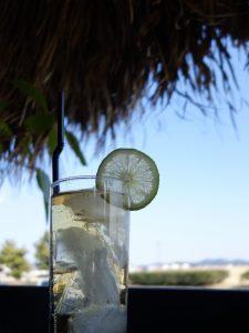 ein Getränk in einem schmalen hohen Glas mit vielen Eiswürfeln darin und einer ganzen Zitronenscheibe an den Rand gehängt