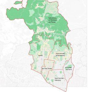 Ausschnitt der Karte von Barcelona auf dem der Bezirk Sarrià-Sant Gervasi zu sehen ist