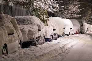geparkte Autos mit Schnee bedeckt, verschneite Strasse und verschneite Bäume mit grünen Blättern