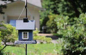 ein kleines blaues Vogelhäuschen das genauso aussieht wie eine richtiges haus und im Vorgarten eines gelben Hauses hängt