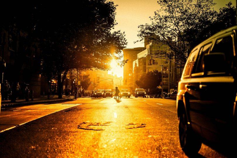eine breite Allee bei Sonnenuntergang mit Bäumen und Autos die an einer Ampel stehen