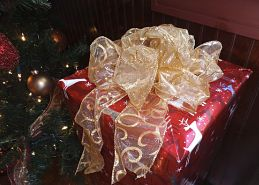 ein Geschenk in rotem Geschenkpapier mit einer pompösen goldenen Schleife oben drauf das neben einem Weihnachtsbaum steht