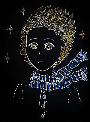 der Kopf und Oberköper des kleinen Prinzen auf einem schwarzen Hintergrund gemalt, drei Sterne um ihn herum und er trägt seinen blau weiss gestreiften Schaal