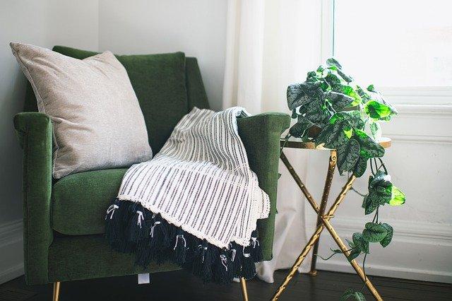 mietausfallversicherung barcelona, grüner sessel mit weißem kissem und einer pflanze rechts davon
