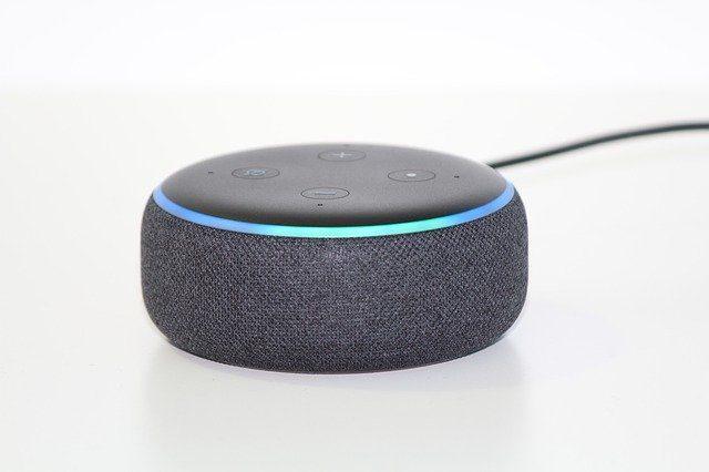 kleiner rundes graues stimm-kontooll-system um ein smart home mit der stimme zu kontrollieren