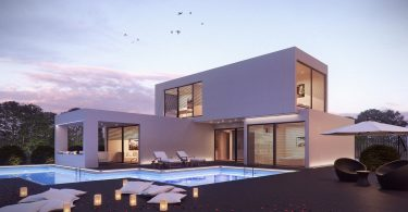 ein zweistöckiges fertigbauhaus in viereckigen formen mit einer überdachten Terrasse und einem Schwimmbad davor