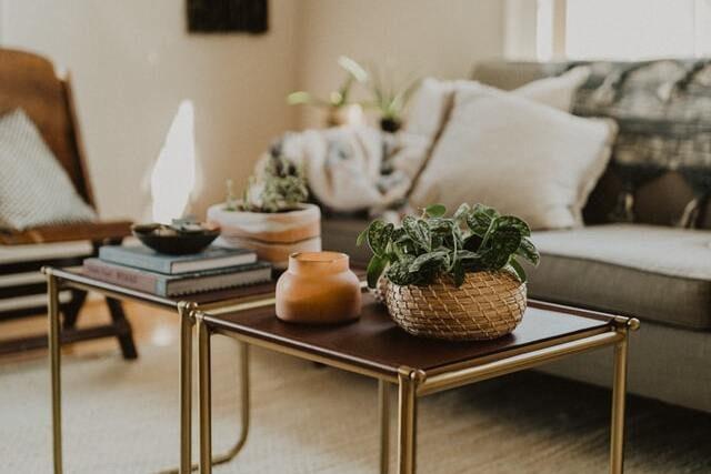 ein Wohnzimmer mit grauem Sofa und beigen Kissen darauf und davor stehen zwei keline Tische mit verschiedenen Körben in denen Pflanzen stehen