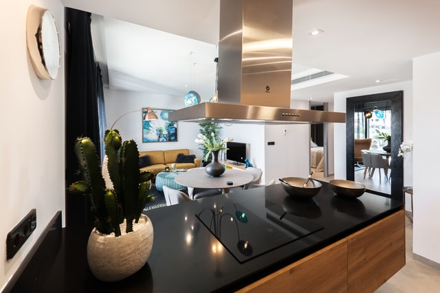 eine Amerikanische Küche eines Studios, schwarze Arbeitsfläche und Holzfrontal