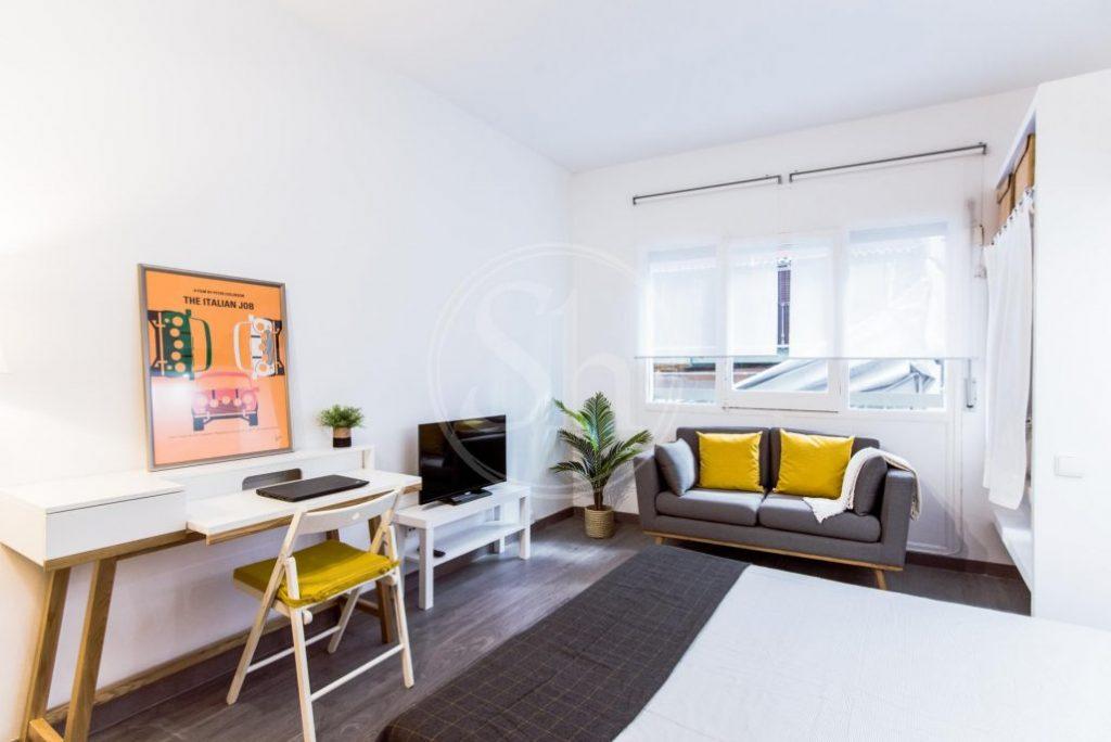 kleines Apartment mit Bett, Sofa, Fernseher, Schreibtisch und Stuhl
