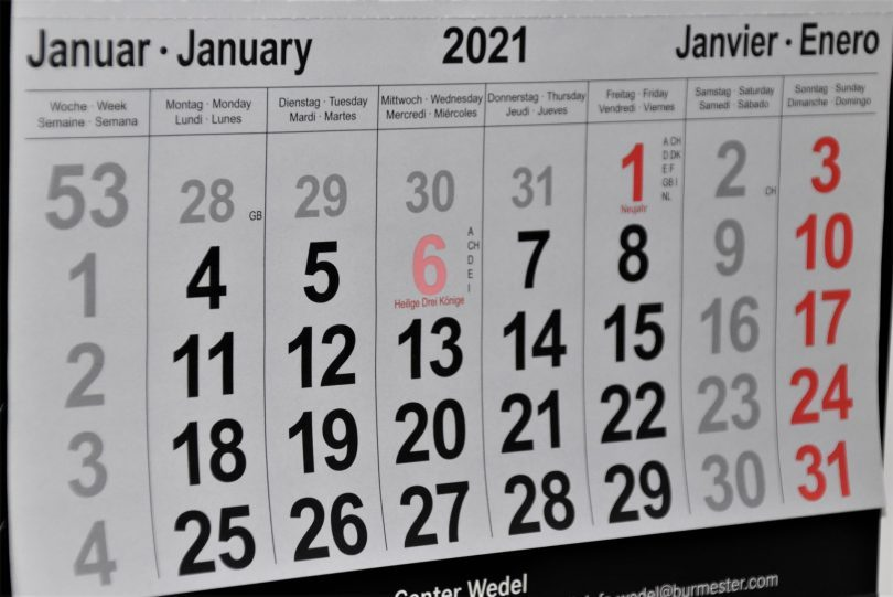 Das erste Blatt der Kalenders 2021