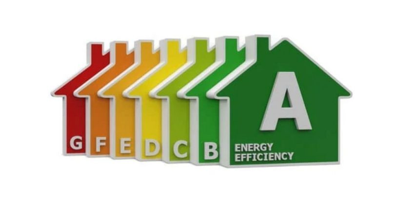 sieben Häuser mit den verschiedenen Buchstaben und Farben der Energieeinstufungen