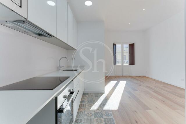 leerstehendes Apartment mit weißer Einbauküche und Parkett
