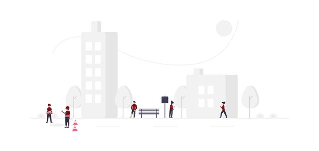 im Hintergrund eine gezeichnete graue Stadt im Vordergrund fünf Personen mit grauen Hosen und roten Pullovern die sich an verschiedenen Punkten in der Stadt befinden