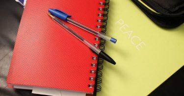 ein gelbes notizbuch auf dem ein rotes notizbuch auf dem ein blauer und ein schwarzer kugelschreiber liegen